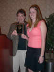 Jennifer Bosse receiving the Outstanding B.A. Chemistry Major award.  Presented by Dr. Brian Space.