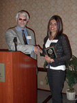 Sabrina Shiviji receiving the Departmental Scholarship.  Presented by Dr. Mike Zaworotko.