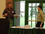 Matthew Hight receiving the Hypercube Scholar award. Presented by Dr. Randy Larsen.