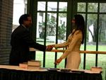 Sabrina Shivji receiving the Analytical Chemistry award.  Presented by Dr. Abdul Malik.