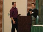 Kurt Van Horn receiving the Outstanding B.S. Chemistry Major award.  Presented by Dr. Roman Manetsch.