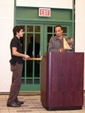 Mario Martinez receives the Inorganic Chemistry Award.  Presented by Dr. Mohamed Eddaoudi.