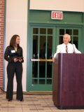 Lissette Marshall receives the T.C. Owen Undergraduate Research Award.  Presented by Dr. Terence Owen.