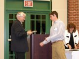 Christopher Cook receives the Department Scholarship Award.  Presented by Dr. Mike Zaworotko.