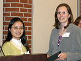 Dr. Sheryl Li presents the ACS Analytical Chemistry award to Karin Thatcher.