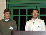 Timothy Bender and Bashar Al-Turk announce the Chemistry Society Scholarship award recipient.