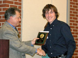 Frederick Stull receives the T.C. Owen Undergraduate Research Award.  Presented by Dr. Robert Potter.